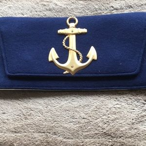 Handbags - Navy wool clutch with gold piece